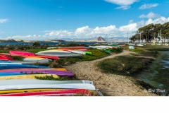 """Waiting for High tide:  Colorful Boat Yard, Los Osos, California"