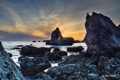 Rock Formations:  Sunset, Seal Beach, California